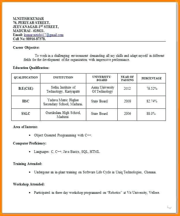 Resume Format Job Interview Resume Format For Freshers Job