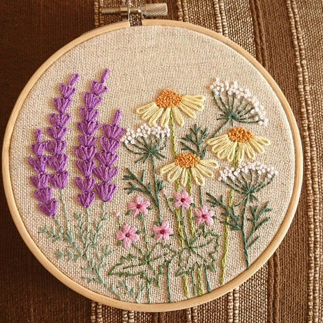 Embroidery hoop art bouquet of lavender Hand embroidered | Etsy