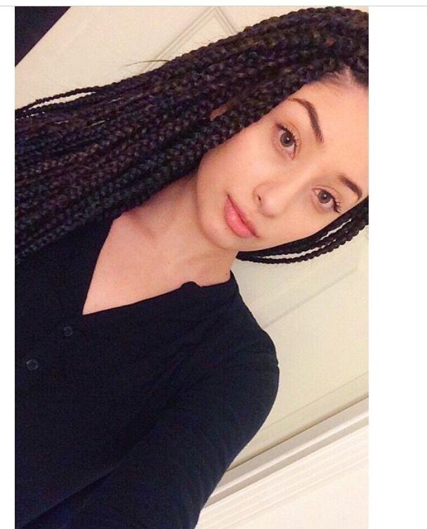 white girl with box braids, black medium box braids, poetic