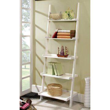 Delaris 5 Tier Ladder Shelf White White Ladder Shelf Leaning Bookcase Ladder Bookcase