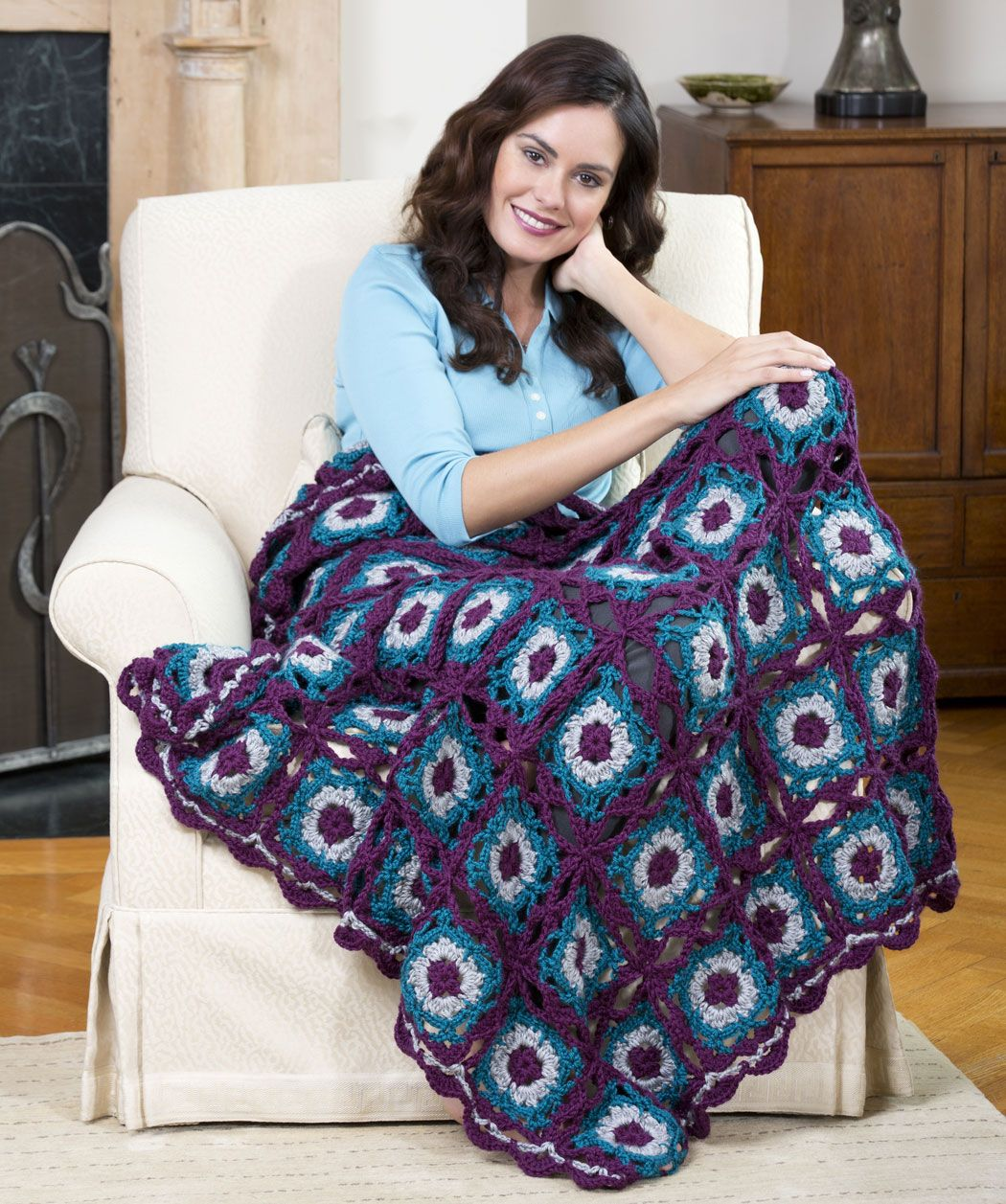 Lacy Square Blanket Free Crochet Pattern From Red Heart Yarn Knit