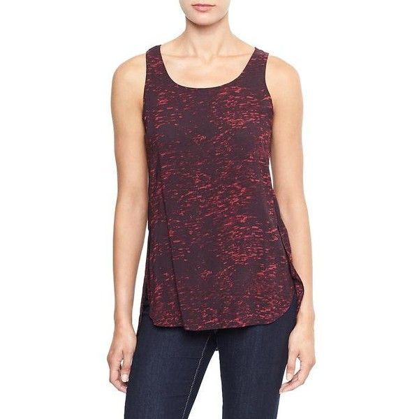 Gap Factory Side Slit Print Tank ($24) ❤ liked on Polyvore featuring tops, fresh cranberry, regular, purple tank, pattern tops, scoop neck tank, purple top and scoop neck top