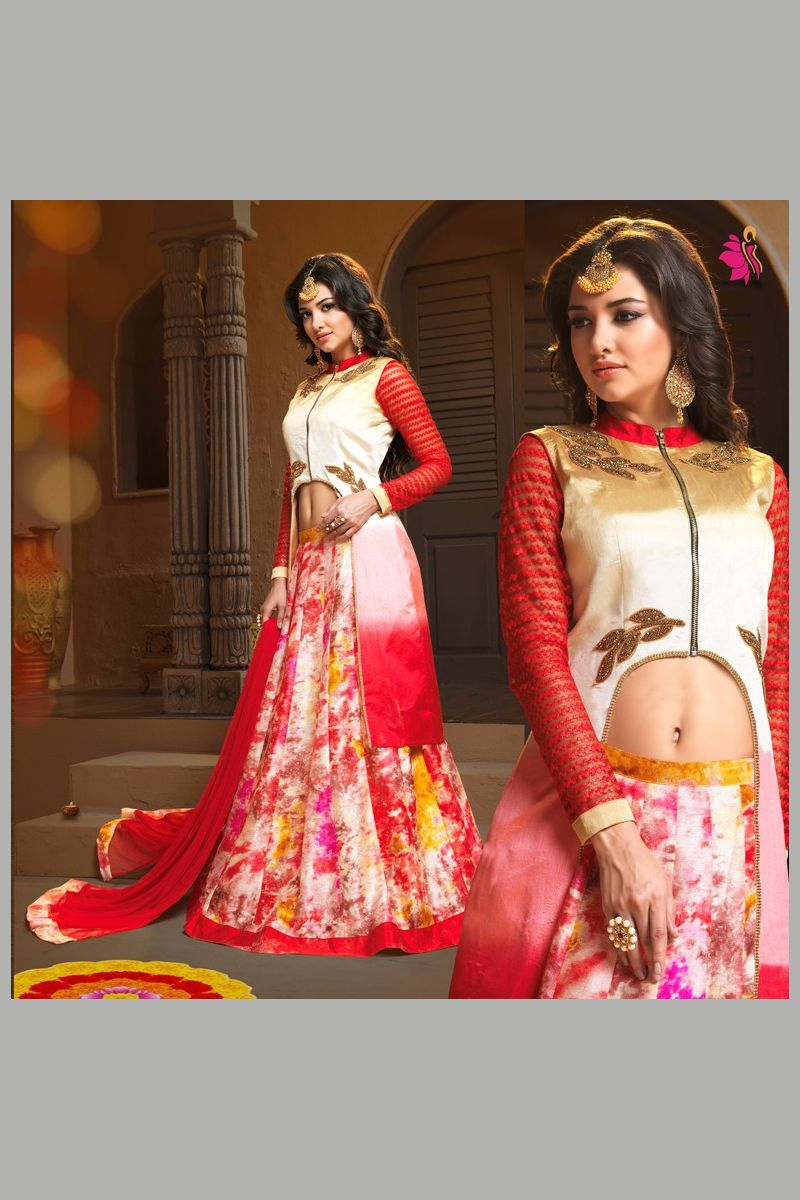 Indo western wedding dress for women  Designer Wedding Wear Red Cream Anarkali Suit   Indo Western