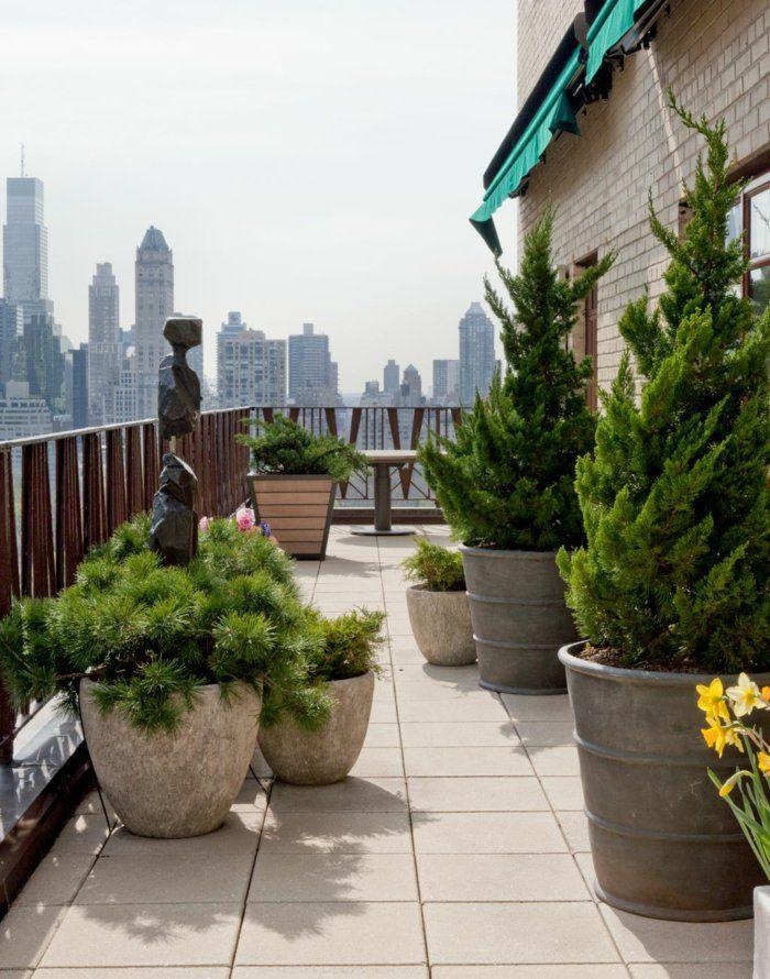 Terrasse Gestalten Pflanzen Dekoideen Große Bodenfliesen