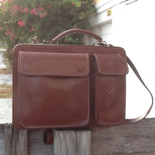 Italian Leather Small Attache Shoulder/Hand Carry Smooth Handcrafted Leather Bag