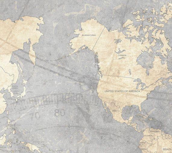 WORLD MAP Canvas Print Vintage Neutral Light By NatalyBorichArt - World map poster vintage style