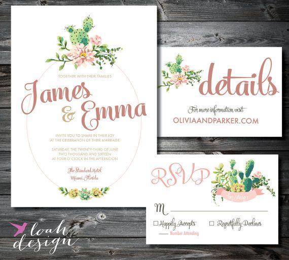 Succulent Wedding Invitation Suite  //  PRINTABLE // Mountain Wedding, Desert Wedding // RSVP, Reception, Directions