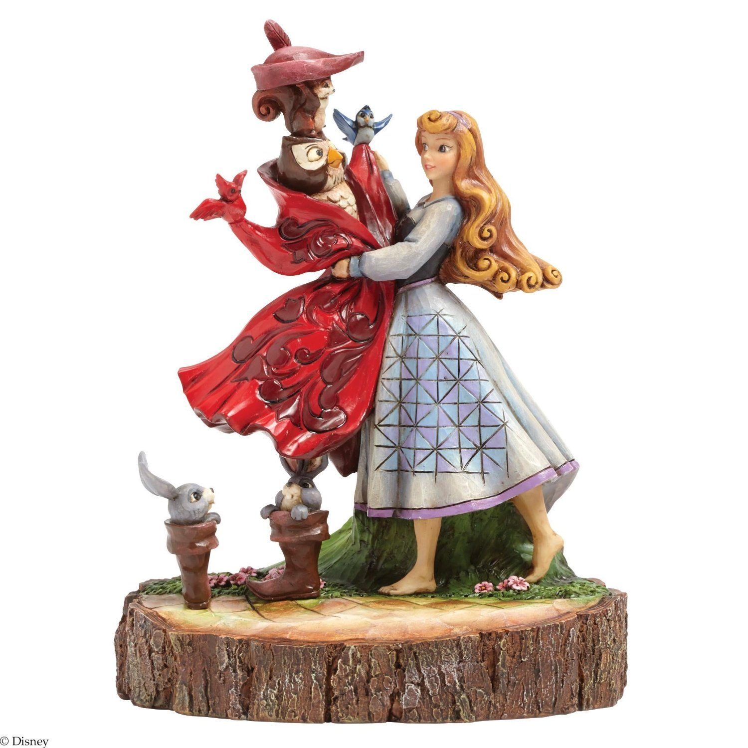 Jim Shore expands his Carved by Heart collection featuring the Briar Rose (Princess Aurora) wishing once upona dream with her woodland friends hoping that one day she will meet her handsome prince.    7.75in H x 4.375in W x 5.75in L $80.00