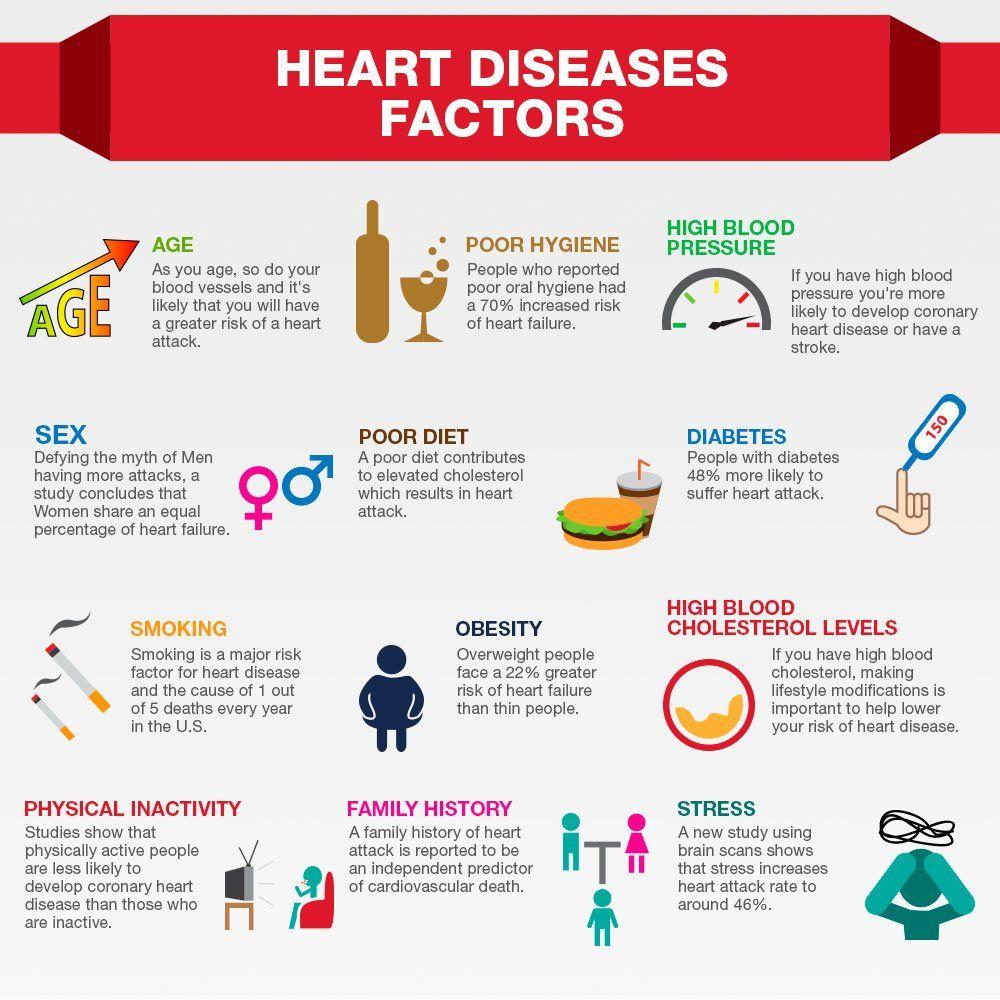 Heart Disease Risk Factors Infographic heart health