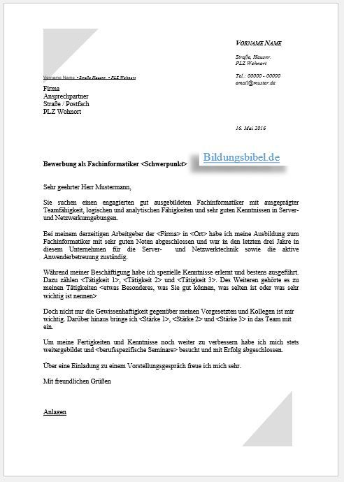 Bewerbung Fachinformatiker Systemintegration, Anwendungsentwicklung ...