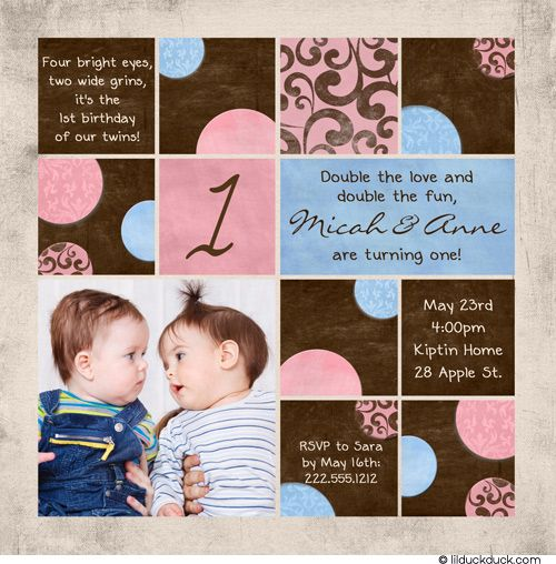 Colorful Photos Twin Birthday Invitation Twin birthday