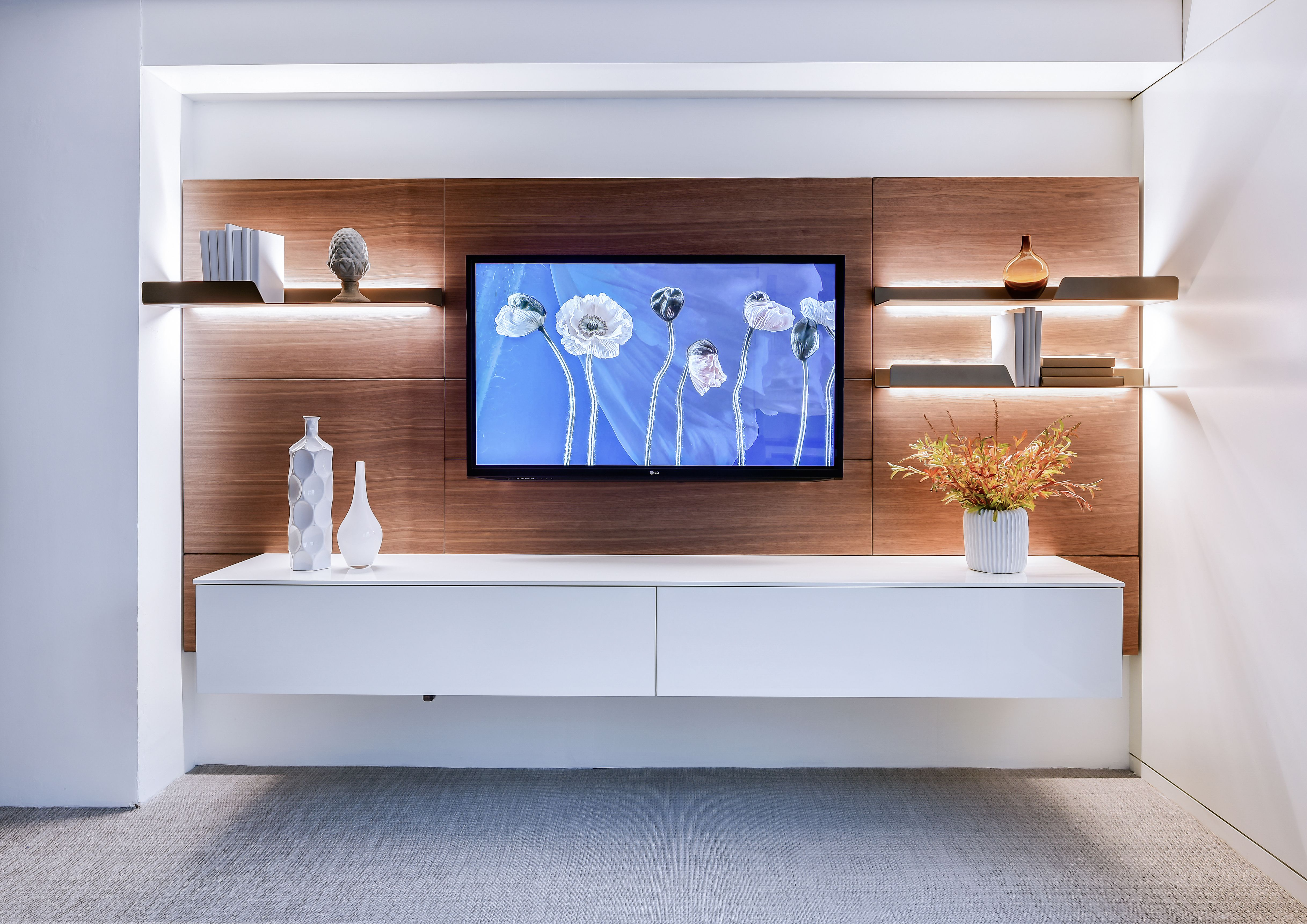 Triplo Hanging Media Is A Modern Elegant Solution For Any Space This Wall Mounted Panel System For Resource Furniture Modern Tv Unit Designs Modern Tv Units