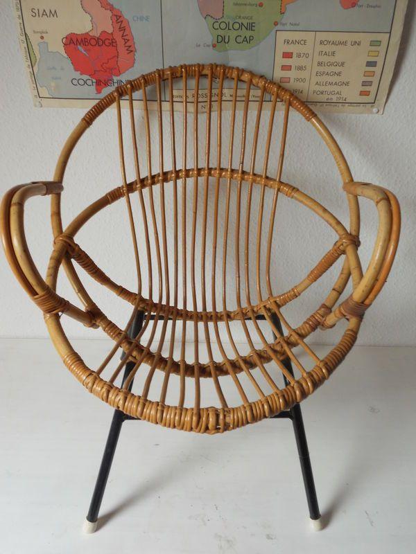 Rattan Chair 60 S Fauteuil Rotin Decoration Vintage Rotin