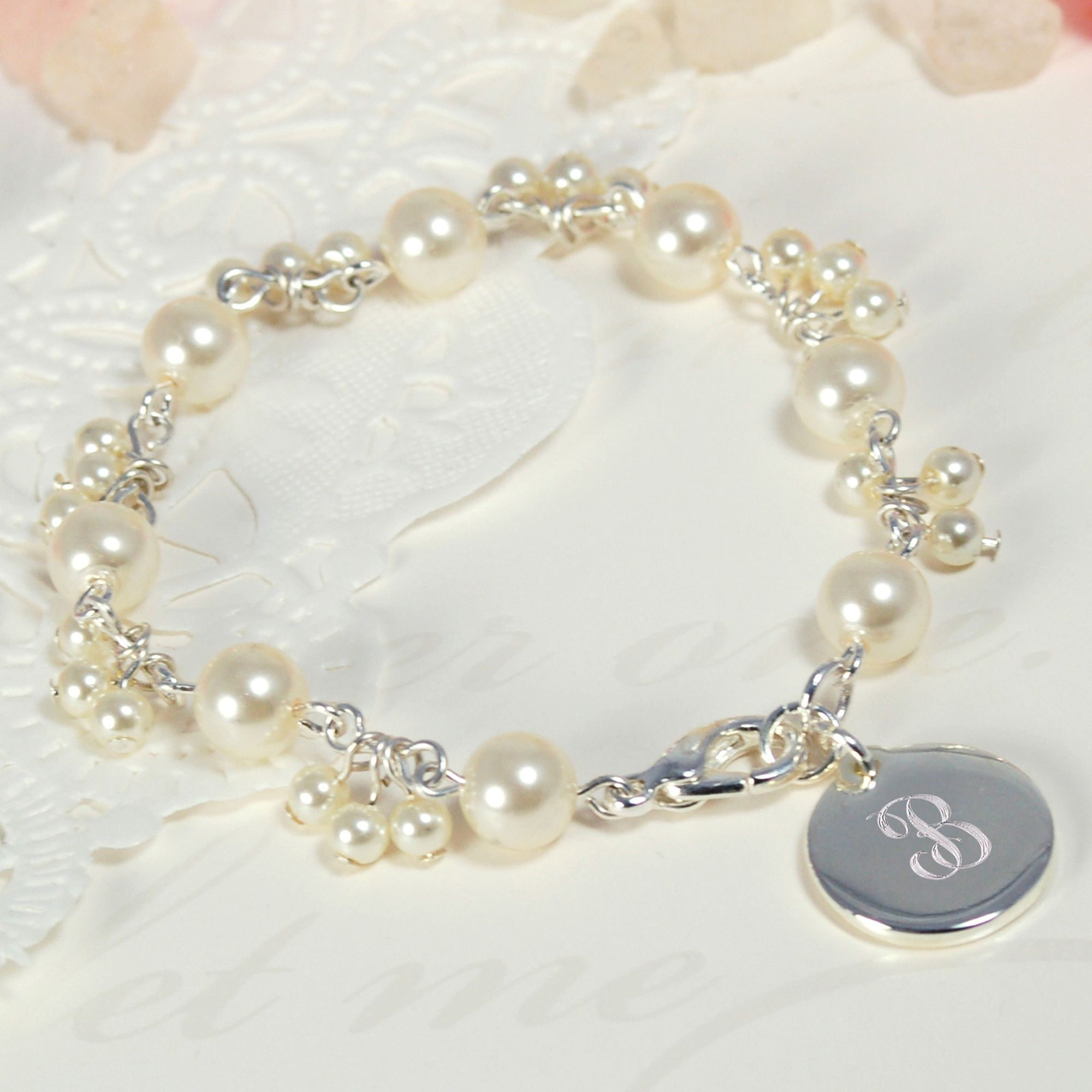 41 Unique Wedding Gift Ideas For Bride And Groom In 2020: Personalized Pearl Cluster Charm Bracelet For Mothers