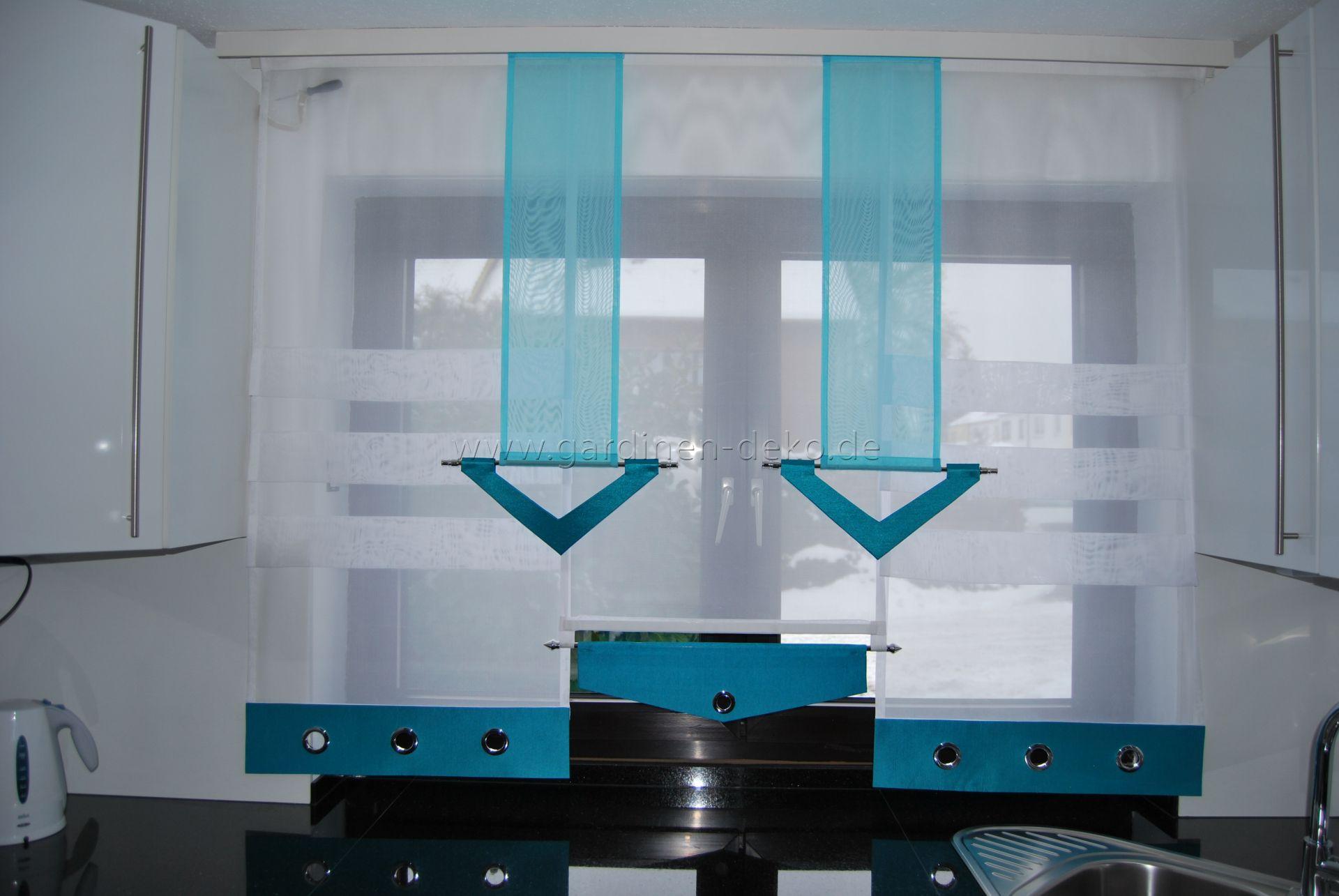 Stufenvorhang für die Küche in edlem türkis und weiß mit Ösen - http ...