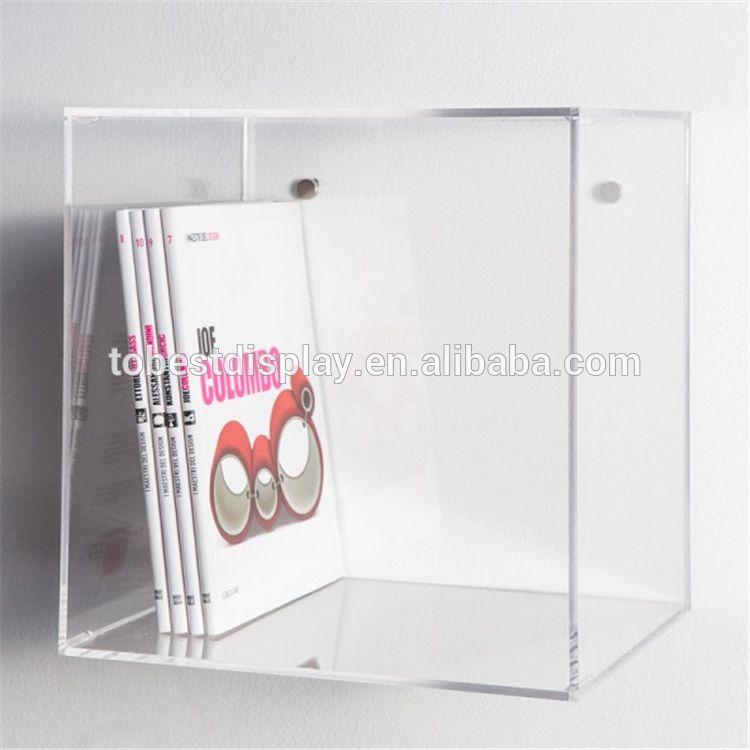 Clear Acrylic Plastic Wall Cube Shelves Squre Box Books Display Box