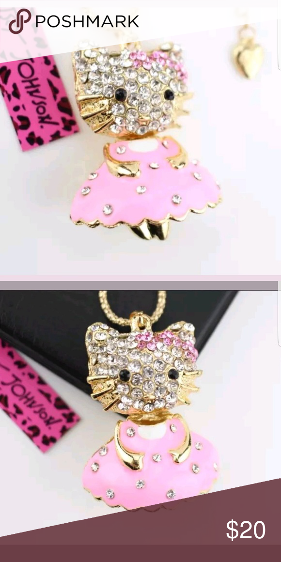 edc062e9f Hello kitty in Pink Dress Necklace by Betsey Johns New with tags Betsey  Johnson Jewelry Necklaces