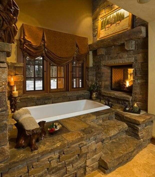 Nice Rock Bathtub And Fireplace