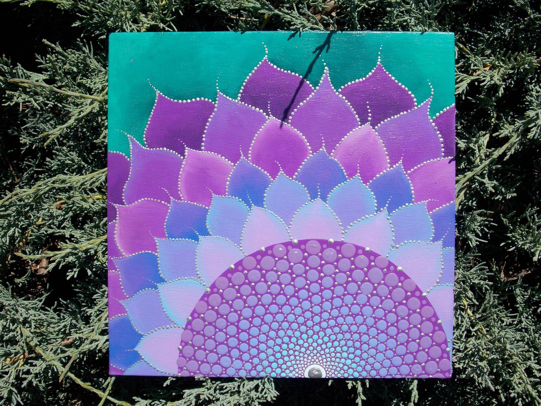 Wildflower Mandala Painting, Sacred Geometry, Dot Mandala, 8X8 In Canvas