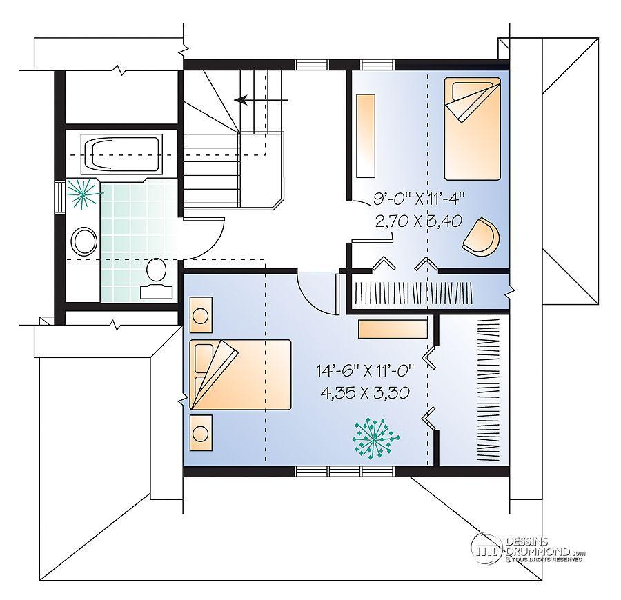 Détail du plan de Maison unifamiliale W2594 Maison Pinterest - image de plan de maison