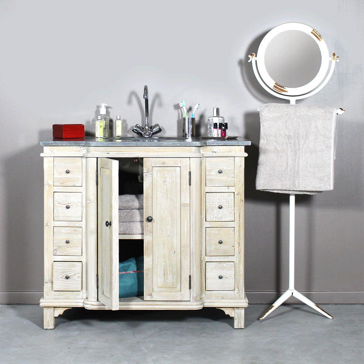 Meuble salle de bain bois massif 1 vasque 2 portes 8 Customiser un meuble de salle de bain