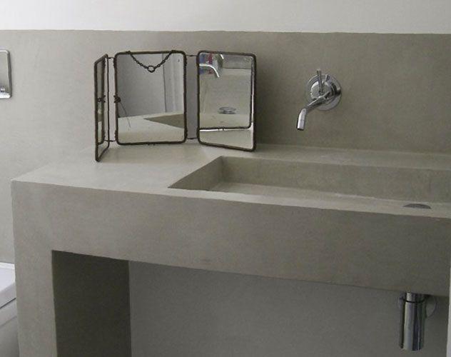 B ton cir plan vasque et meubles b ton cellulaire for Plan de travail salle de bain beton cire