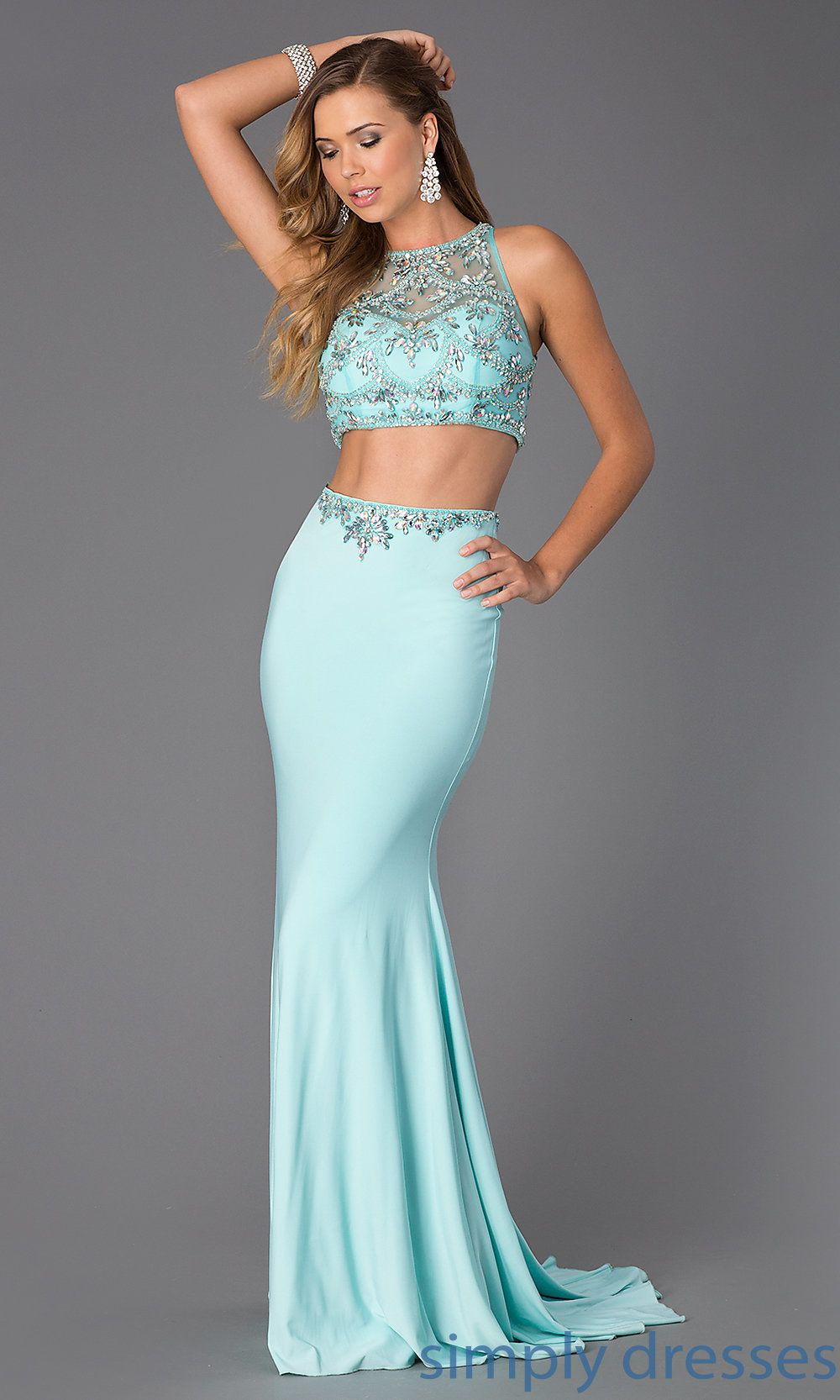 Floor Length Two-Piece Jeweled Prom Dress CD-1126 | Bedazzle me ...
