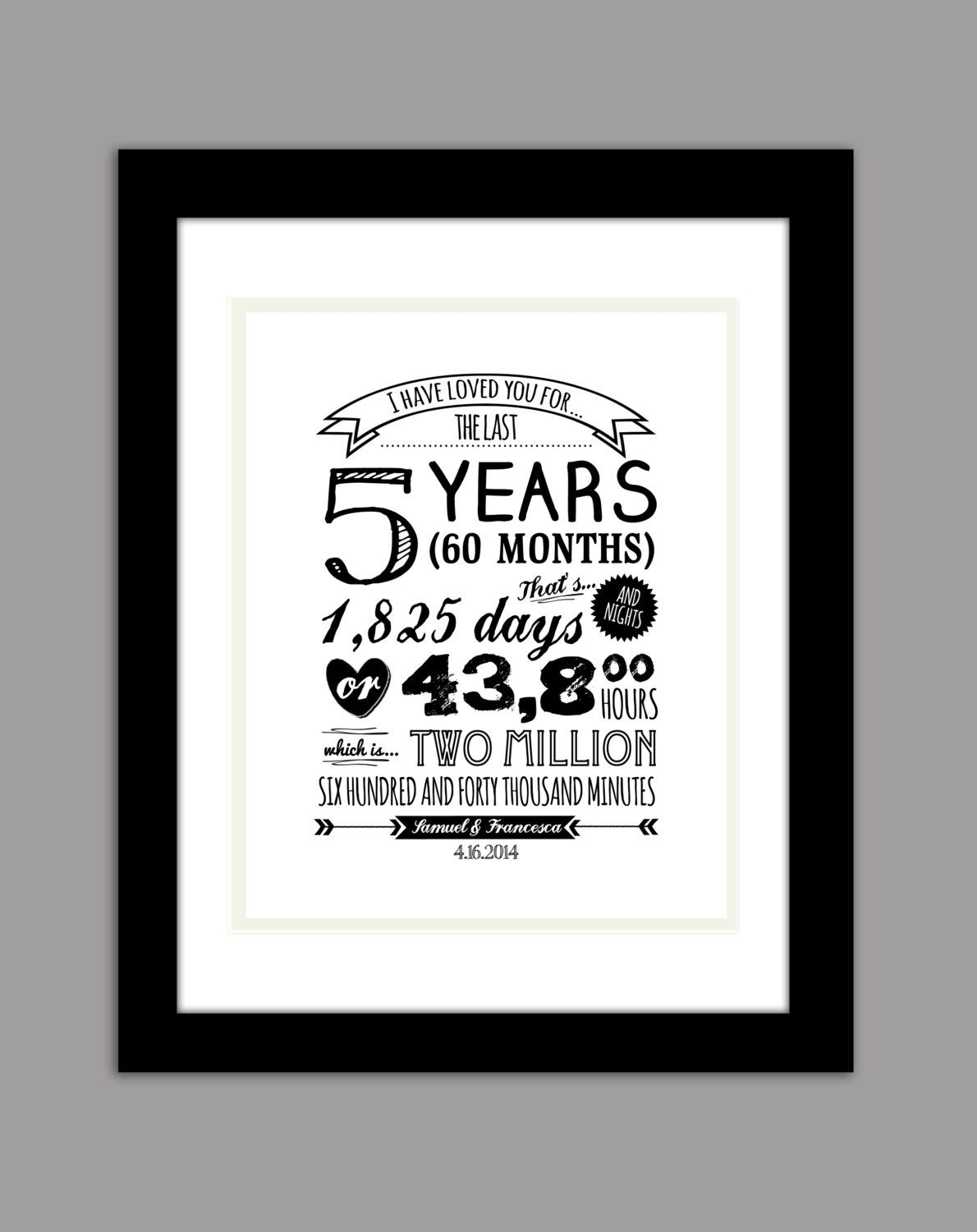 Personalized Typography anniversary gift with names and date \