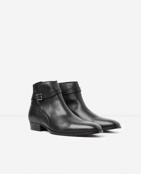 f280d1b4de1 Black leather ankle boots with ankle buckle - THE KOOPLES MAN ...