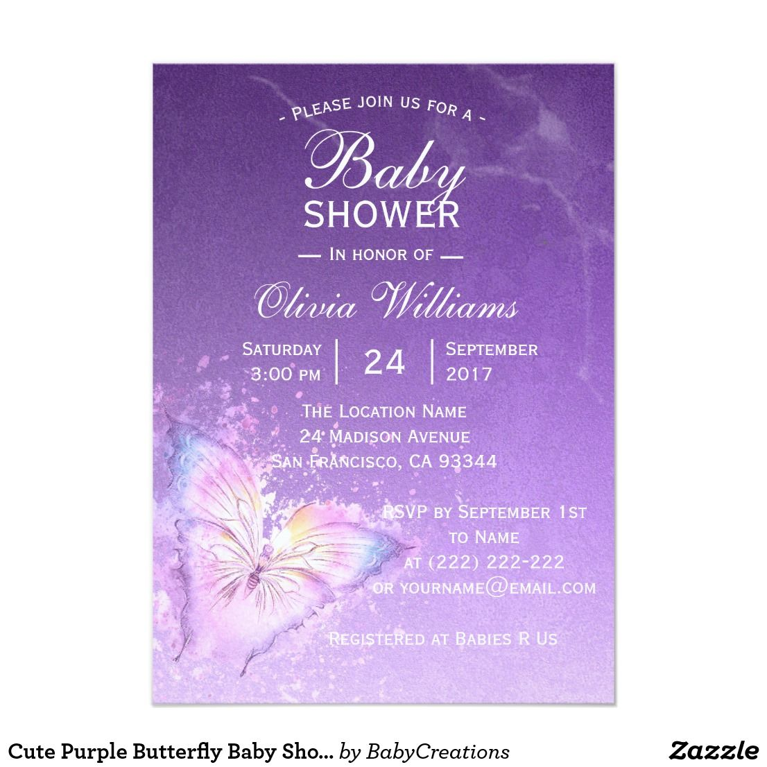 Cute Purple Butterfly Baby Shower Templates | Baby shower templates ...