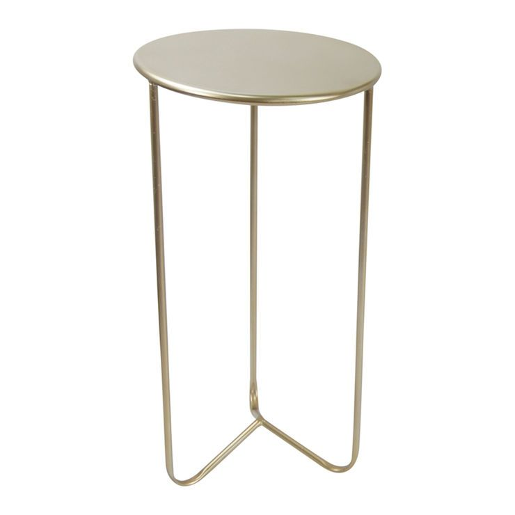 Nested Round Gold Three Leg Table - 14 X 28