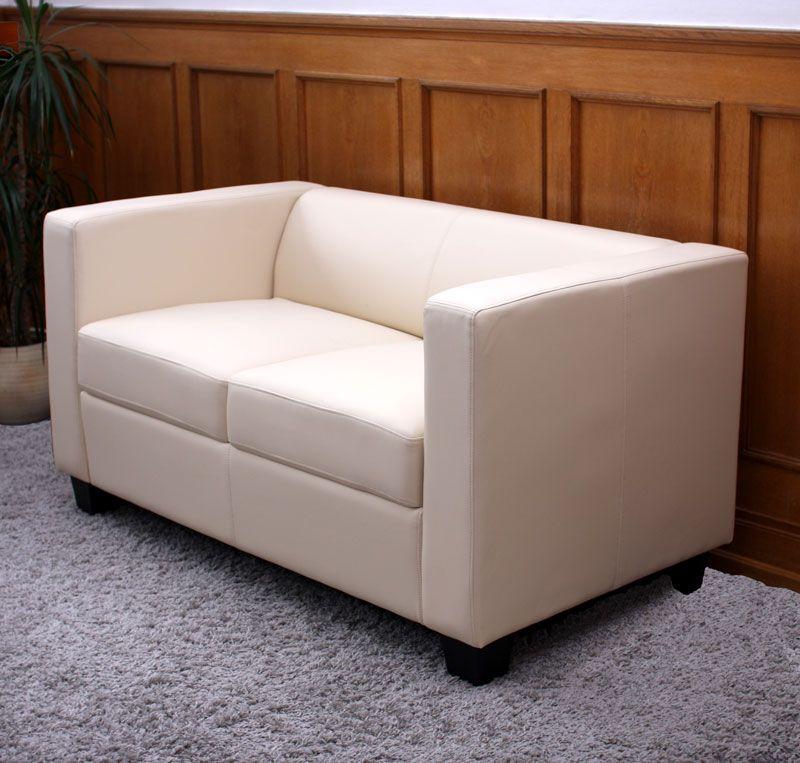 2er Sofa Couch Loungesofa Lille ~ Kunstleder, creme Lille