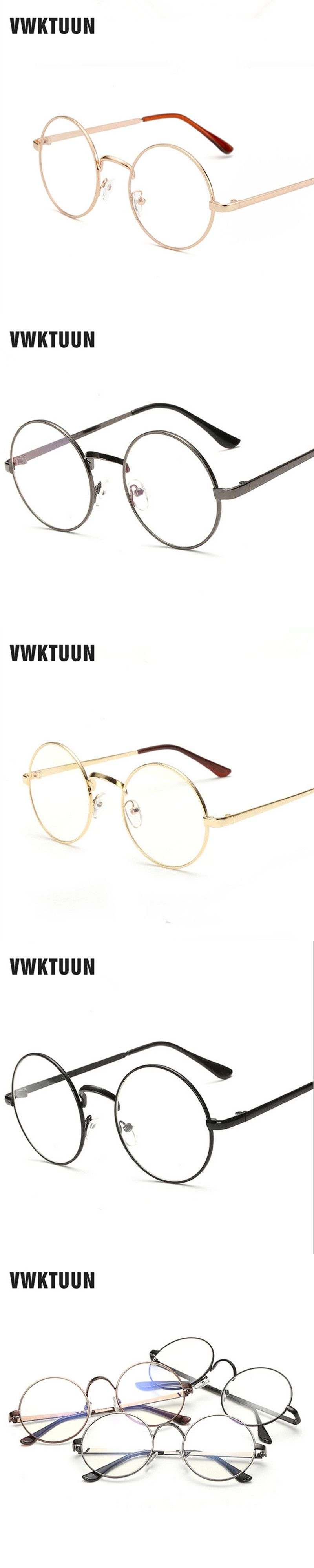 2dc339a04ff5 VWKTUUN Round Glasses Frame Women Men Eyeglasses Frames Plain Eyeglass  Spectacle Vintage Students Glasses Frame Fake