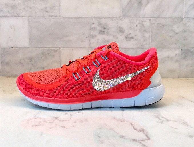 73e2e61ab24d Swarovski Bling Nike Free 5.0 Pink Orange Neon Crystal by GoldHomeCouture  on Etsy