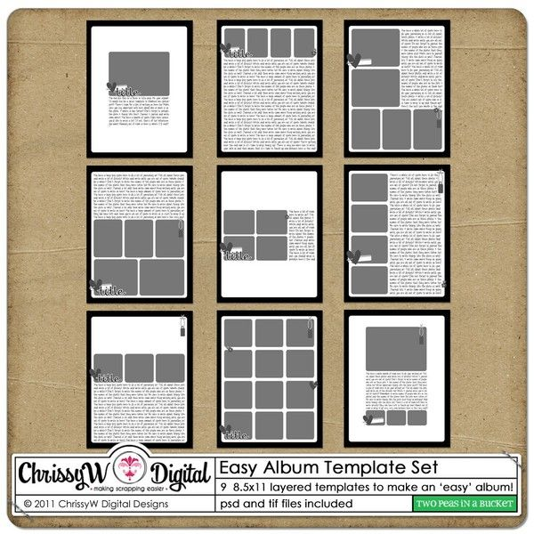 Easy Album 85x11 Template Set - Page layout ideas I adore