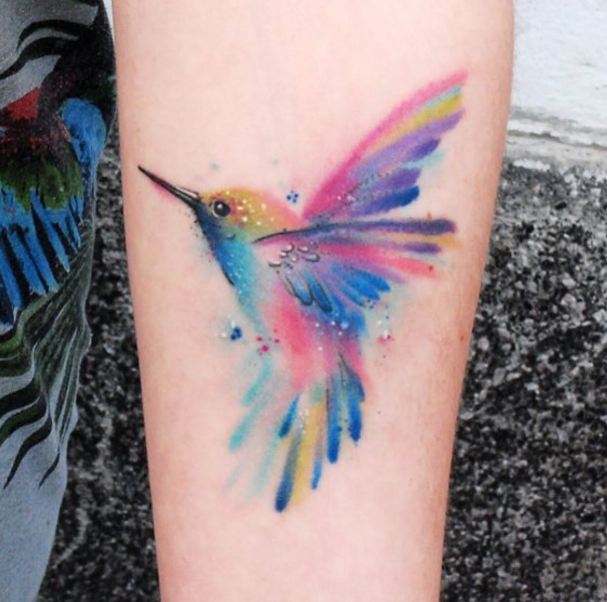 Watercolor Hummingbird Tattoo Hummingbird Tattoo Tattoos Pink