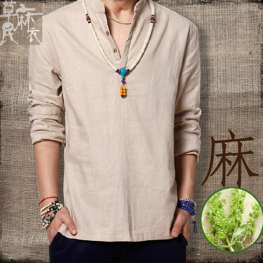 2014 Summer Male Casual Linen Shirts Chinese Style Coarse