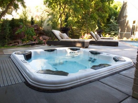 Caption Recessed Portable Spa Installing A Bullfrog Spas Spa Vault Inside A Cutout In The