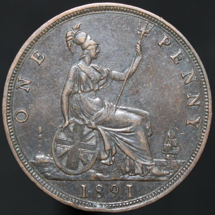 1891 victoria one penny bronze coins km coins