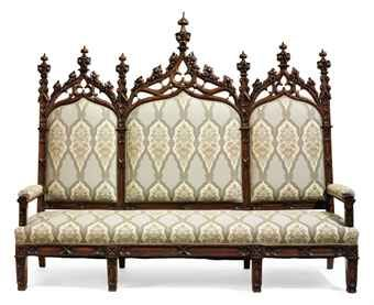 Gothic Revival carved oak triple-back hall settee, English or American,  late 19th
