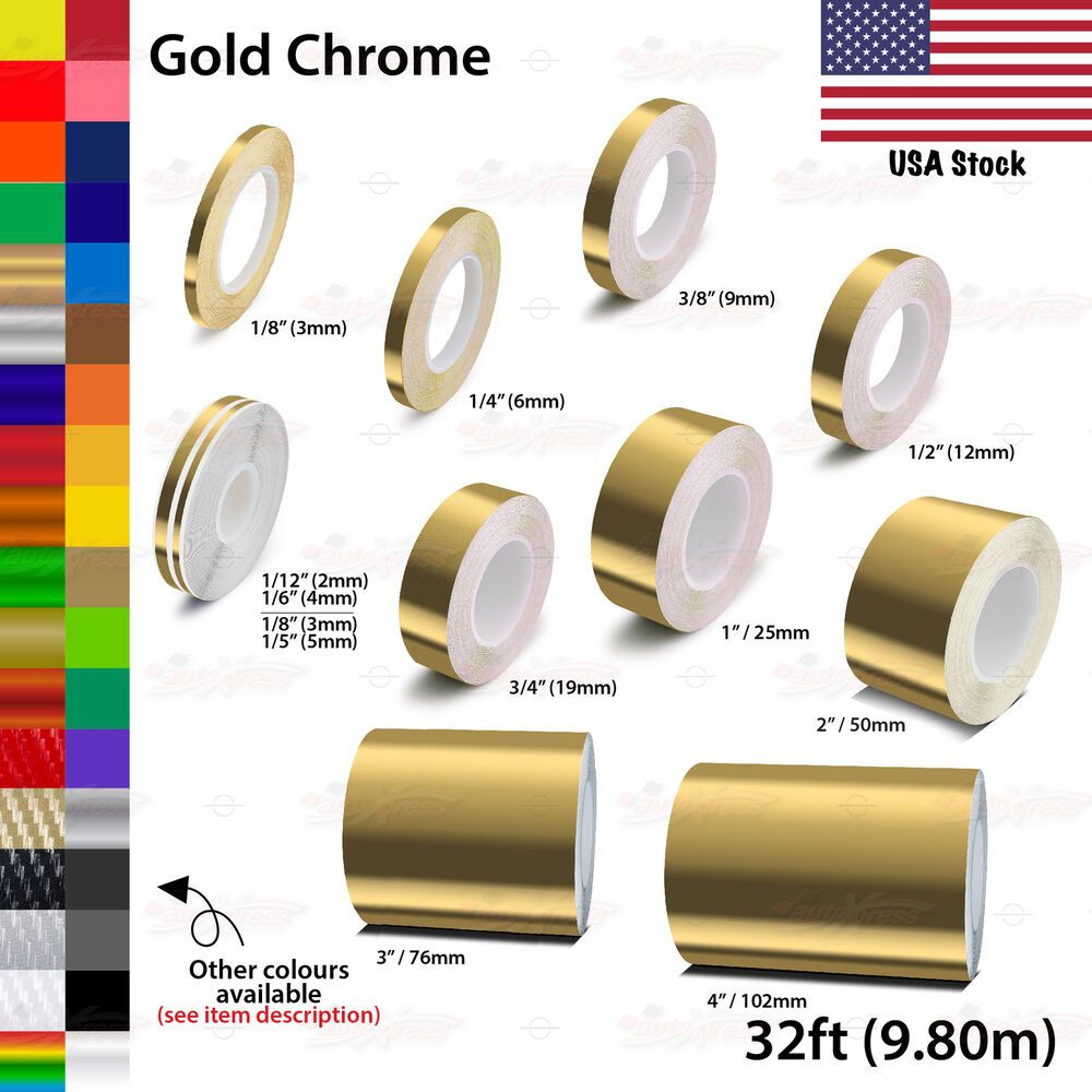 Gold Chrome Roll Vinyl Pinstriping Pin Stripe Car Motorcycle Tape Decal Stickers Unbrandedgeneric Gold Chrome Car Decals Vinyl Pinstriping
