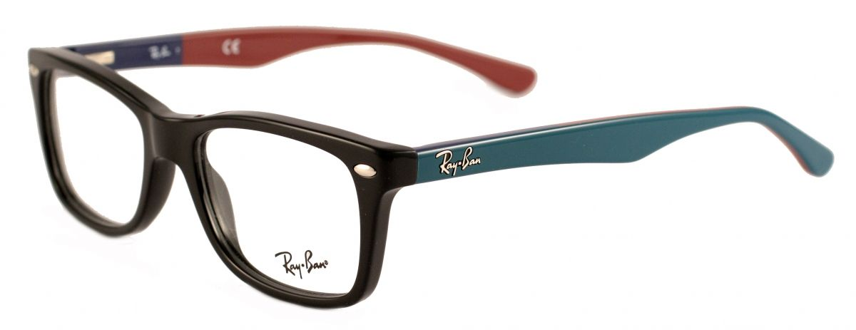 ray ban designer sunglasses  Ray-Ban RX5228 5544 Black/Turquoise/Burgundy Designer Glasses ...