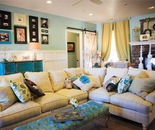 Superior Cottage Style Living Room   Paint Colors Valspar Sauna By Allen Roth (blue)  And Valspar Bistro White Part 17
