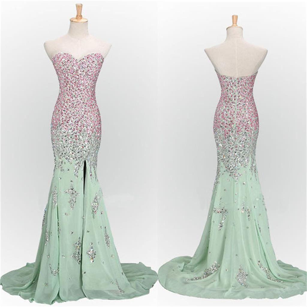 Mint prom dresseslong prom dresses mermaid prom dressessweetheart