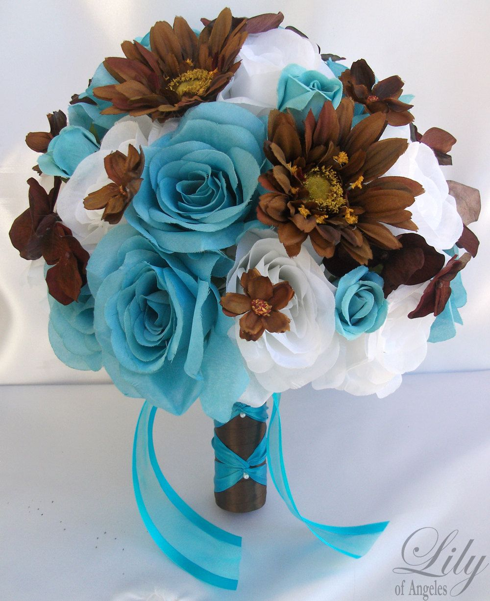 17 pieces package silk flower wedding decoration bridal bouquet 17 pieces package silk flower wedding decoration bridal bouquet turquoise white brown lily of angeles dhlflorist Choice Image