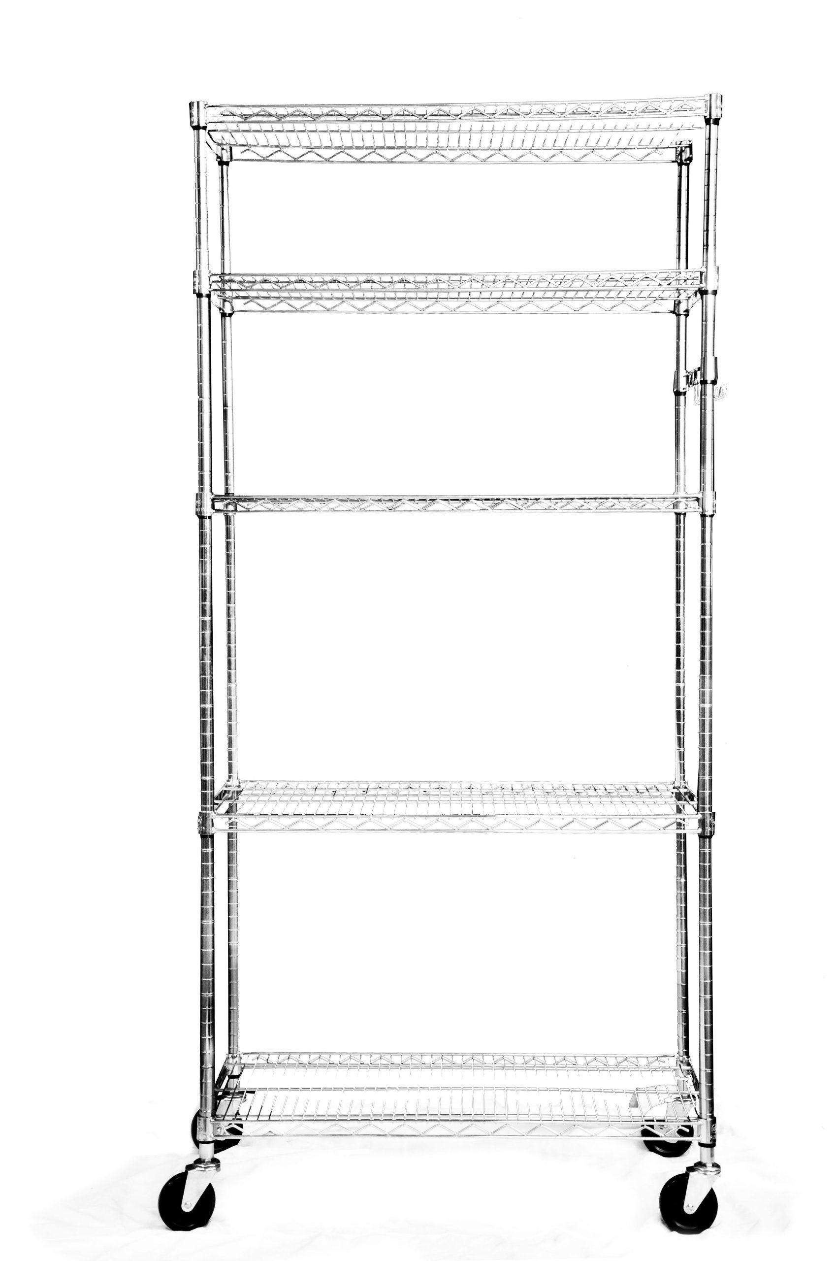 TRINITY EcoStorage 5 Tier NSF Wire Shelving Rack With Wheels, 36 By 18 By