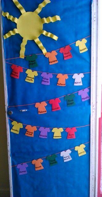 Puerta de verano para mi salon classroom doors y room for Decoracion de puertas infantiles