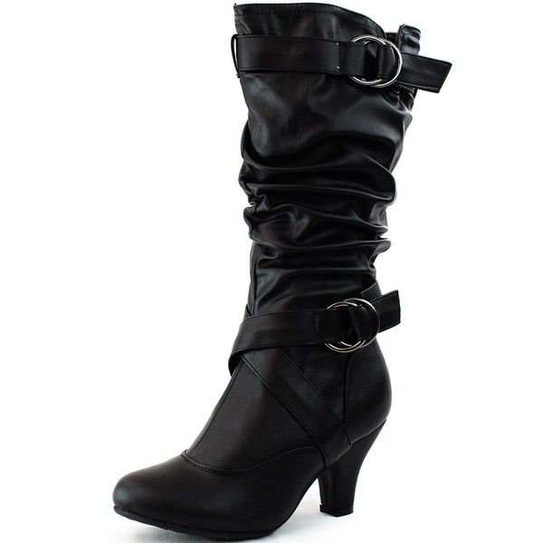 Women's Fashion Nubuck Strap Buckle Studded Short Wedge Heel Slouchy Boots