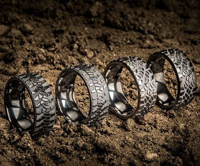 giveaway tire tread rings - Mud Tire Wedding Rings