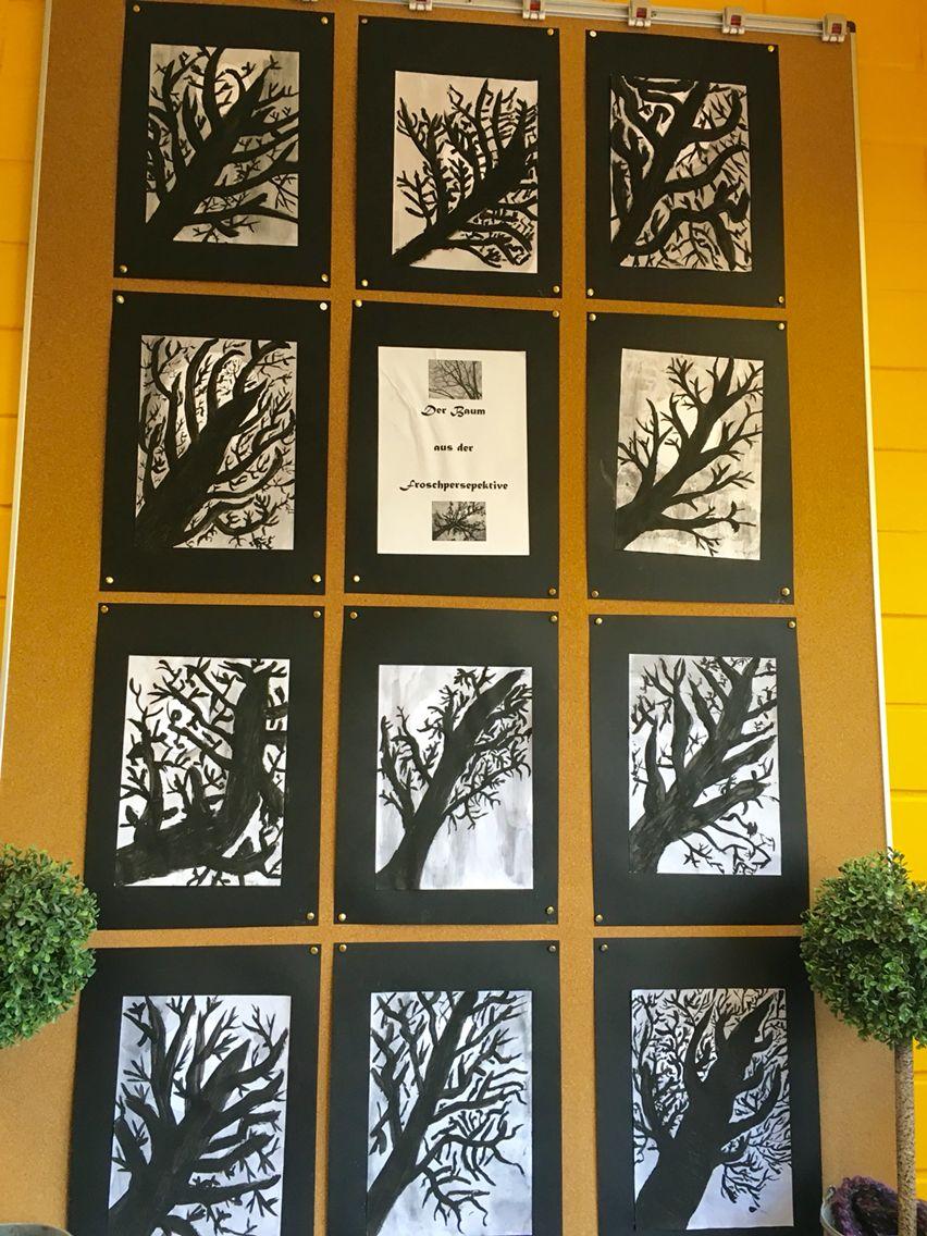 schwarze wasserfarben der baum aus der froschperspektive kunstunterricht malen und basteln. Black Bedroom Furniture Sets. Home Design Ideas